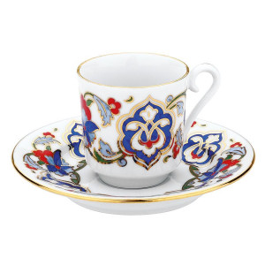 Kutahya Porselen GZ12KT07557 Hand Painted Coffee Set for 6 Persons