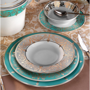 Kutahya Porselen IRIS 97 Pieces 7770 Patterned Dinnerware Set