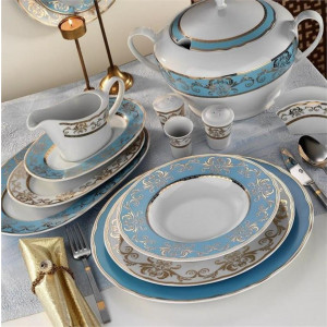 Kutahya Porselen LEONBERG 97 Pieces 6914 Patterned Dinnerware Set