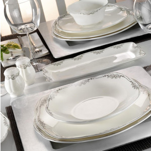 Kutahya Porselen KARE BONE 73 Pieces 50109 Patterned Dinnerware Set