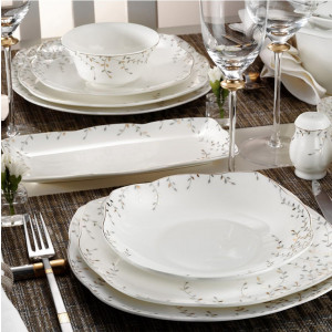Kutahya Porselen KARE BONE 73 Pieces 50110 Patterned Dinnerware Set