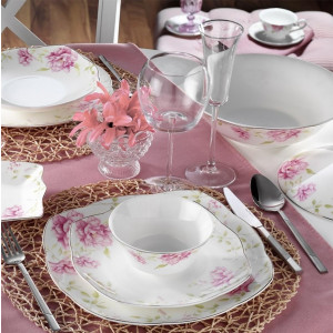 Kutahya Porselen KARE BONE 73 Pieces 50112 Patterned Dinnerware Set