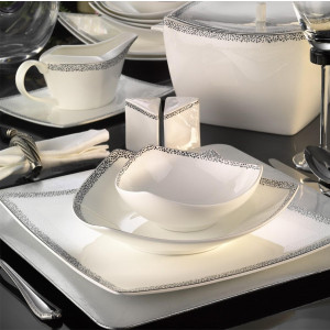 Kutahya Porselen PHASELIS BONE Patterned 83 Pieces 65122 Dinnerware Set