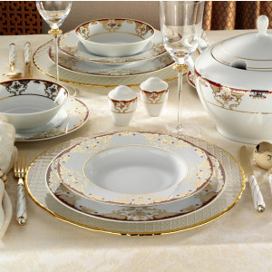 Kutahya Porselen 83 Pieces 8458A Patterned Dinnerware Set