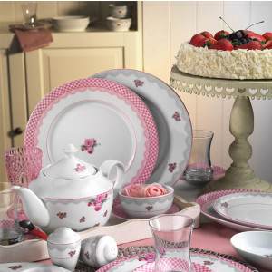 Kutahya Porselen LEONGBERG 43 Pieces 8537 Patterned Dinnerware Set