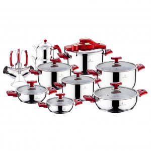 Sofram KUPON 22 Pieces Red Cookware Set