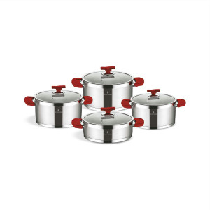 Sofram TETRA 8 Pieces Red Cookware Set