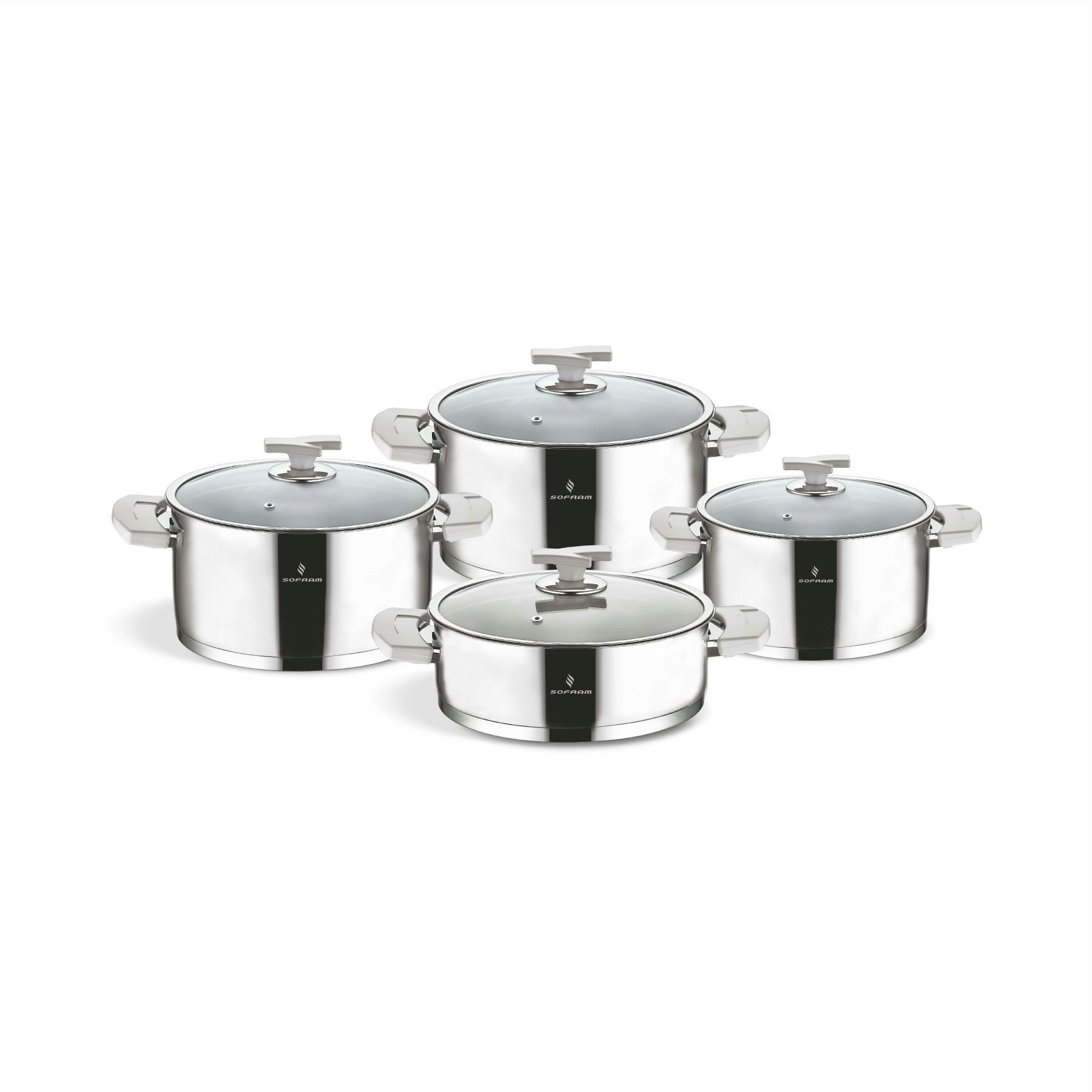 Sofram TETRA 8 Pieces Cream Cookware Set