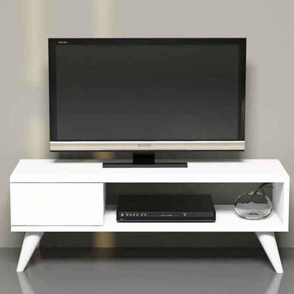 طاولة تلفزيون مايا مع درج لون أبيض (MG3-414)