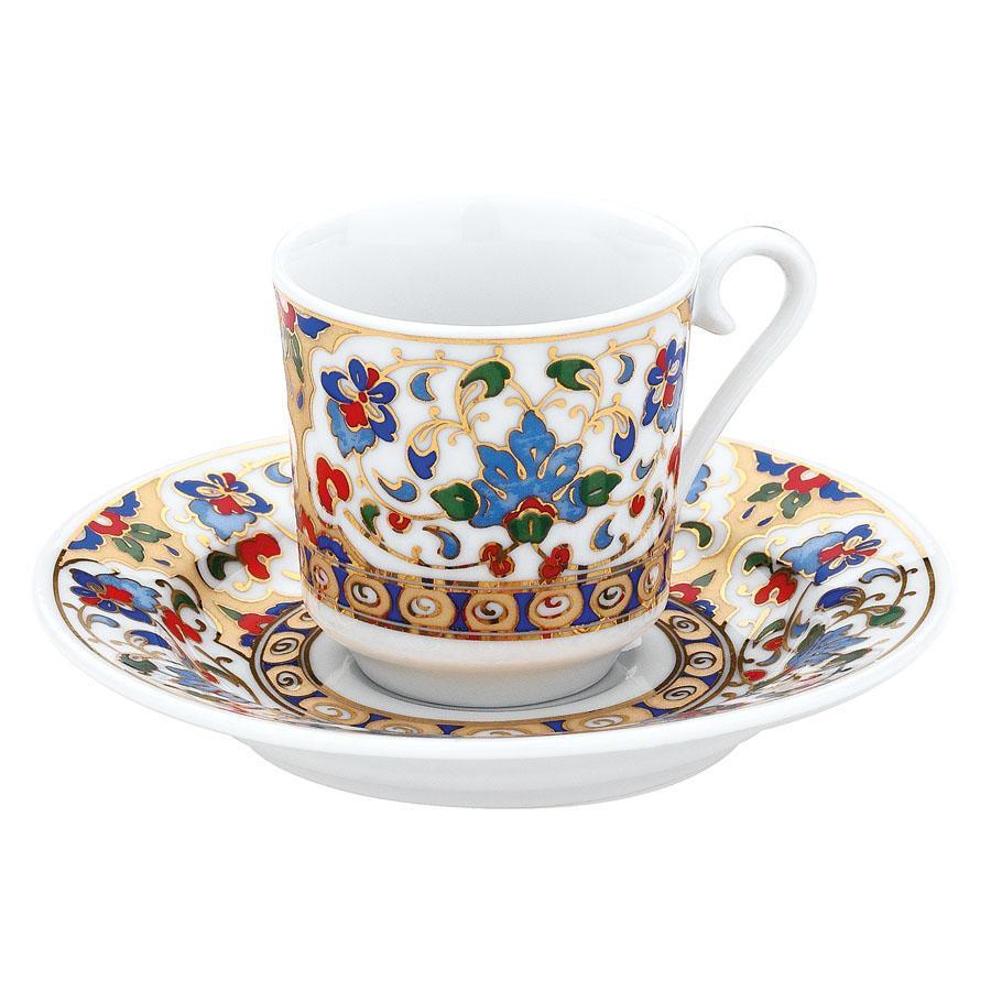 كوتاهيا بورسلان GZ12KT073701 طقم قهوة مزخرفة يدويا للشخصين