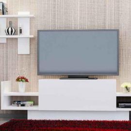 طاولة تلفزيون باهار تك مع درج لون أبيض (CR3-179)