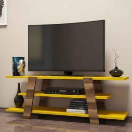 طاولة تلفزيون فلوار  مع رف لون أبيض و أصفر (KS3-992)