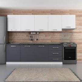 Ranim Furniture Fitted Kitchen Cabinet 300 cm White Anthracite