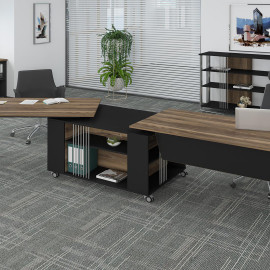 EMN UP CHROME OFFICE SET WITH TWO TABLES