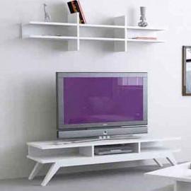 طاولة تلفزيون ريترو  مع رف لون أبيض (KS3-275)