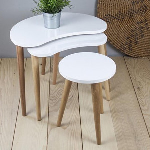 BEAN ZIGON COFFEE TABLE WHITE (NT3-342)