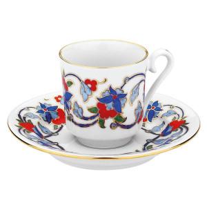 كوتاهيا بورسلان GZ12KT07554 طقم قهوة مزخرفة يدويا للشخصين