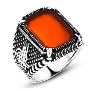 خاتم من الفضة و حجر العقيق توغرا
