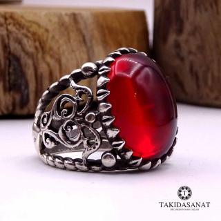 خاتم فضة عنبر أحمر