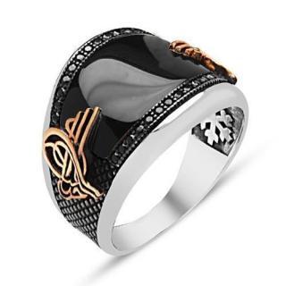 خاتم من الفضة و حجر الأونيكس توغرا