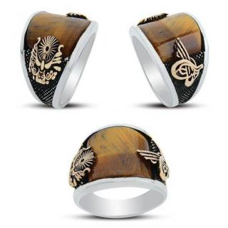 خاتم من الفضة و حجر العقيق بني